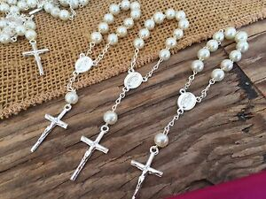 60 Mini Rosary OFF WHITE Baptism Favors/Recuerdos De Bautizo/ christening Favors
