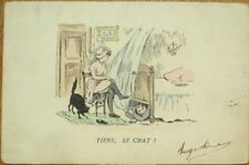 Risque 1905 Postcard: Nude/Topless Woman & Cat, Man Hiding Under Her Bed