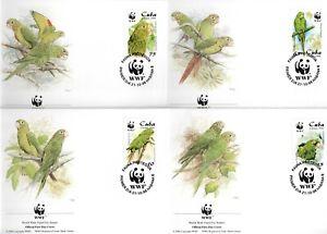 WWF 1998 Fauna birds parrots Set of 4 FDC´S