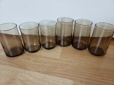 6 VINTAGE!! 70's Libby Tawny Brown Accent Smoke Drinking JUICE Glasses Cups