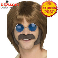 AC346 Brown Hippie Disguise Set Mens 1960s 60s Costume Retro Kit Tash Sideburns
