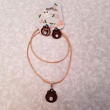 "📿 Golden Cord 18"" Necklace & Earrings set - Enamel Bear Charms - great gift"