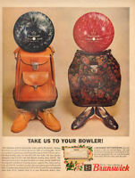 1960s vintage Christmas AD BRUNSWICK BOWLING BALLS for him & her GIFTS! 112317