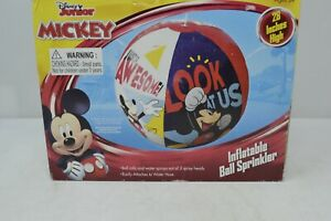Mickey Mouse Inflatable Beach Ball Sprinkler Disney Junior Summer Fun Red