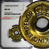 Fiji George VI Brass 1943 S 1 Penny NGC MS64 WWII Emergency Issue KM# 7a