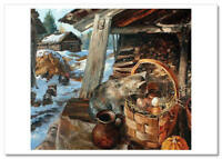 Cat and eggs in a basket Peasant Izba by Zhdanov Russia Modern Postcard