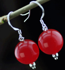 PRETTY 10MM NATURAL RED JADE ROUND BEADS DANGLE EARRINGS JE174