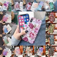 For iPhone XS Max XR 6s 7 8 Plus Flower Pattern Soft TPU Silicone Gel Case Cover
