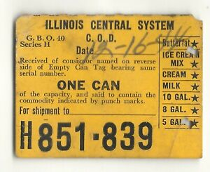 1944 Illinois Central Railroad dairy can tag ticket, K