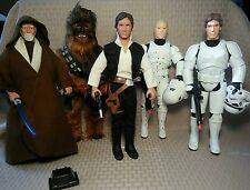 "Star Wars Kenner PotF Lot 12"" Han Solo Obi Wan Chewbacca Luke Stormtrooper"