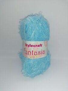 Stylecraft Fantasia DK Fluffy Yarn 50g Ball 100% Nylon Turquoise Blue 1602 (607)