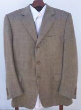 Canali Silk/Linen Sport Coat/Jacket Blazer Brown Mens 5444 R 3 Button Italy