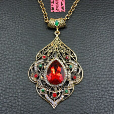Pendant Betsey Johnson Chain Necklace Red Bling Rhinestone Charm Teardrop