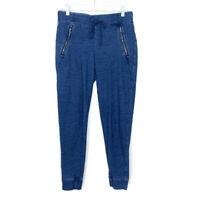 Lou & Grey Womens Size Small Joggers Blue Pants Drawstring Zip Pockets Cotton