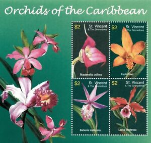 St. Vincent 2003 SC# 3171 Orchids of Caribbean, Flower - Sheet of 4 Stamps - MNH
