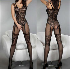 Sexy Women Crotchless Open Crotch Stockings Fishnet Sheer Body Dress Lingerie