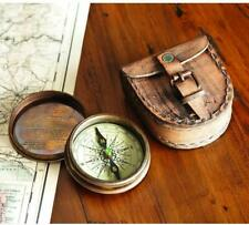 Antiqued Nautical Marine Brass Poem Compass with Handmade Leather Case