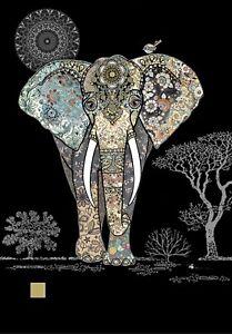 Bug Art Decorative Elephant Embossed Jewel Effect Blank Greetings Card Birthday
