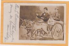 Real Photo Postcard RPPC - Two Men in Oxen Wagon Arkansaw Traveler Studio Prop