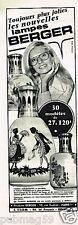 Publicité advertising 1973 Les Lampes Berger