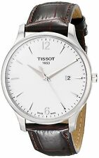 Tissot T Classic Tradition Silver Dial Brown Leather Men's Watch T0636101603700 Watches Product Description