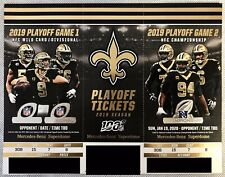 2019 New Orleans Saints NFL Playoff Ticket Stubs Strip - Fast Free Shipping