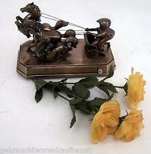Römischer Krieger auf Pferdestreitwagen Bronzefarben Gespann Pferdewagen