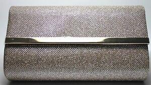 Bare Minerals Evening Bag Purse Glamorous Clutch Gold Metallic Sparkle