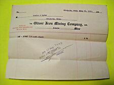 ANTIQUE 1911 OLIVER IRON MINING Co. MONROE MINE CHISHOLM MINNESOTA STEEL RECEIPT