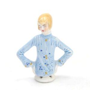 Antique Art Deco porcelain pin cushion half doll lady flapper 16639 #31 sewing