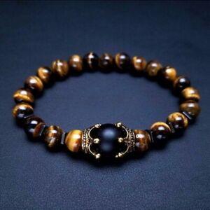 Natural Stone Black Obsidian Tiger Eye Beads Bracelets Hematite Magnetic Unisex