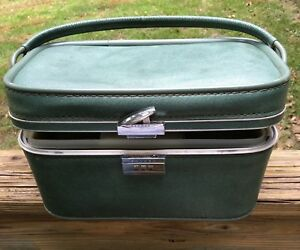 Vintage SKYWAY Train Case Cosmetic CarryOn Luggage Suitcase Travel Bag Green MCM