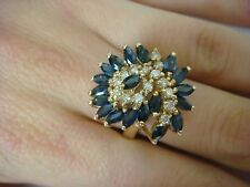 SAPPHIRES AND DIAMONDS LARGE COCKTAIL RING 14K YELLOW GOLD 10.2 GRAMS