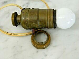 Antique Oil Kerosene Lamp Expander Collar, Converter, Leviton Bulb Holder & Bulb