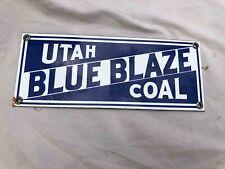 Used Utah Blue Blaze Coal Porcelain Advertising Mining Sign
