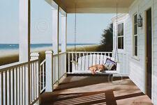 Lu Zhen Huan Swing Chair Porch Animal Dog Ocean Beach Coastal Print Poster 26x18