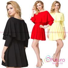 Women's Casual Spanish Frill Mini Dress 3/4 Sleeve Length Tunic One Size FK1496