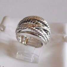 David Yurman New Wide CrossOver Sterling Silver Cable Band Ring Size 7.5 & Pouch