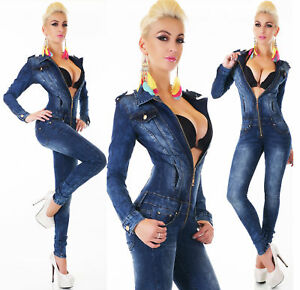 Sexy Denim Jumpsuit Blue Wash Skinny Legs Jeans Party Overall Zips 6-14