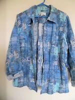 Christopher & Banks Linen Cotton Blend Open Front Jacket Size 1X