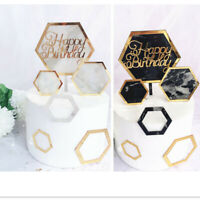 New Hexagon Marble Acrylic Gold Party Happy Birthday Cake Topper Cake Decoration