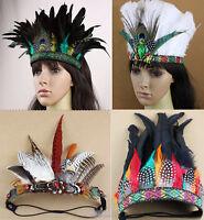Indian Feather Headband Party Performance Hat Samba Carnival Headdress Headgear