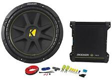 "Kicker Comp 12"" 10C124 Subwoofer Package w/ 2-Channel Amplifier + Amp Wire Kit"