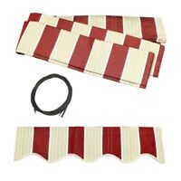 ALEKO Fabric Replacement For 8x6.5 Ft Retractable Awning Multistripe Red Color