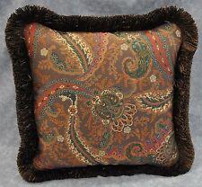 Pillow made w Ralph Lauren Rue Des Artistes Brown Paisley Fabric 12x12 w/fringe