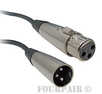 50ft - Shielded 3-Pin XLR Extension Microphone Mic Audio Cable Male Female M/F