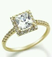 SOLITAIRE ENGAGEMENT 2 CARAT BRILLIANT PRINCESS CUT RING SOLID 14K YELLOW   GOLD