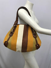 GUCCI PURSE STRIPED CANVAS LINEN BROWN LEATHER GOLD METAL BITS & NAILHEADS