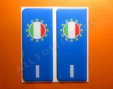 2x3D Sticker Resin Domed Euro ITALY Number Plate with Flag Car Badge Adhesive