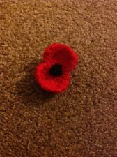 Hand Knitted Poppy Brooch Pin.